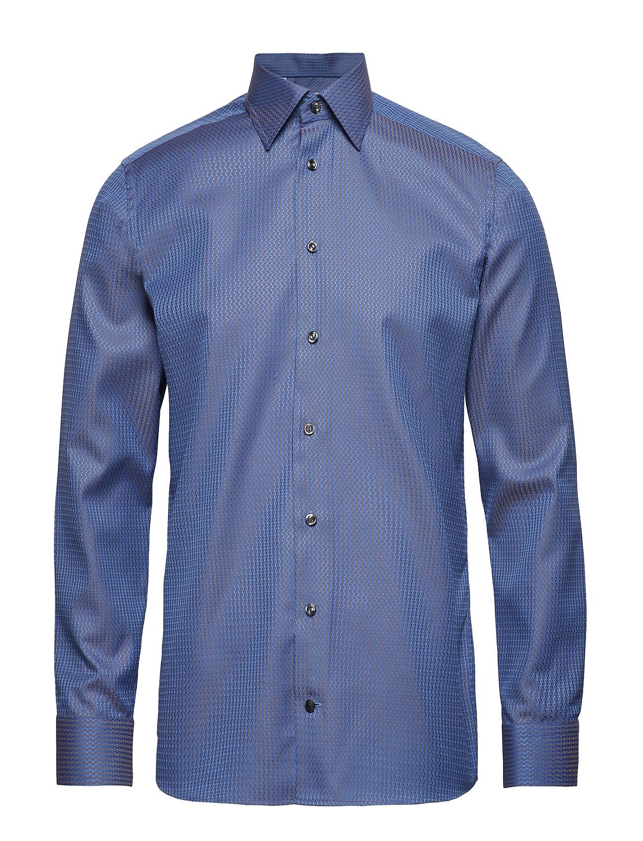 Eton Blue & Beige Jacquard Shirt - BLUE