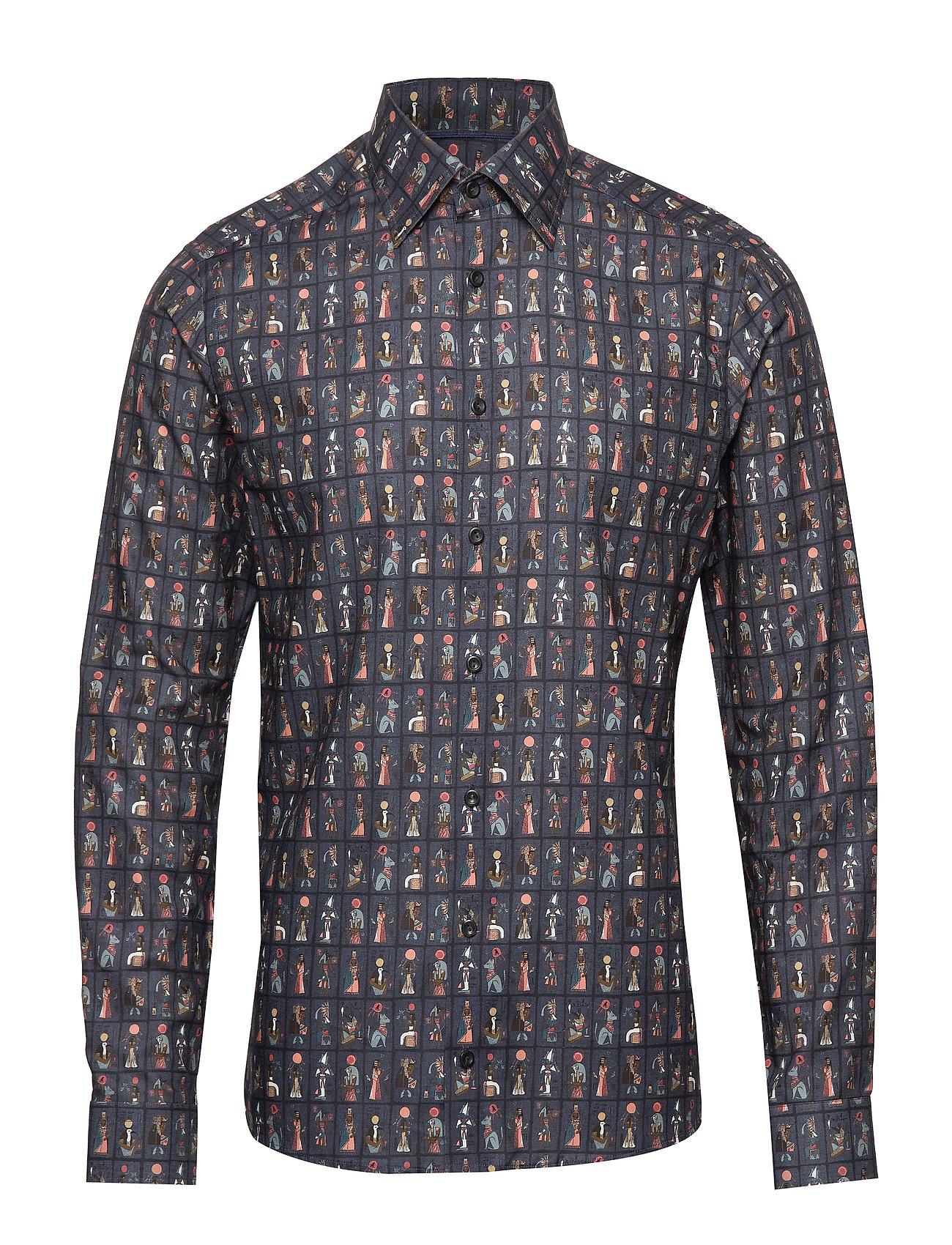 Eton Egyptian Tarot Cards Print Flannel Shirt - BLUE