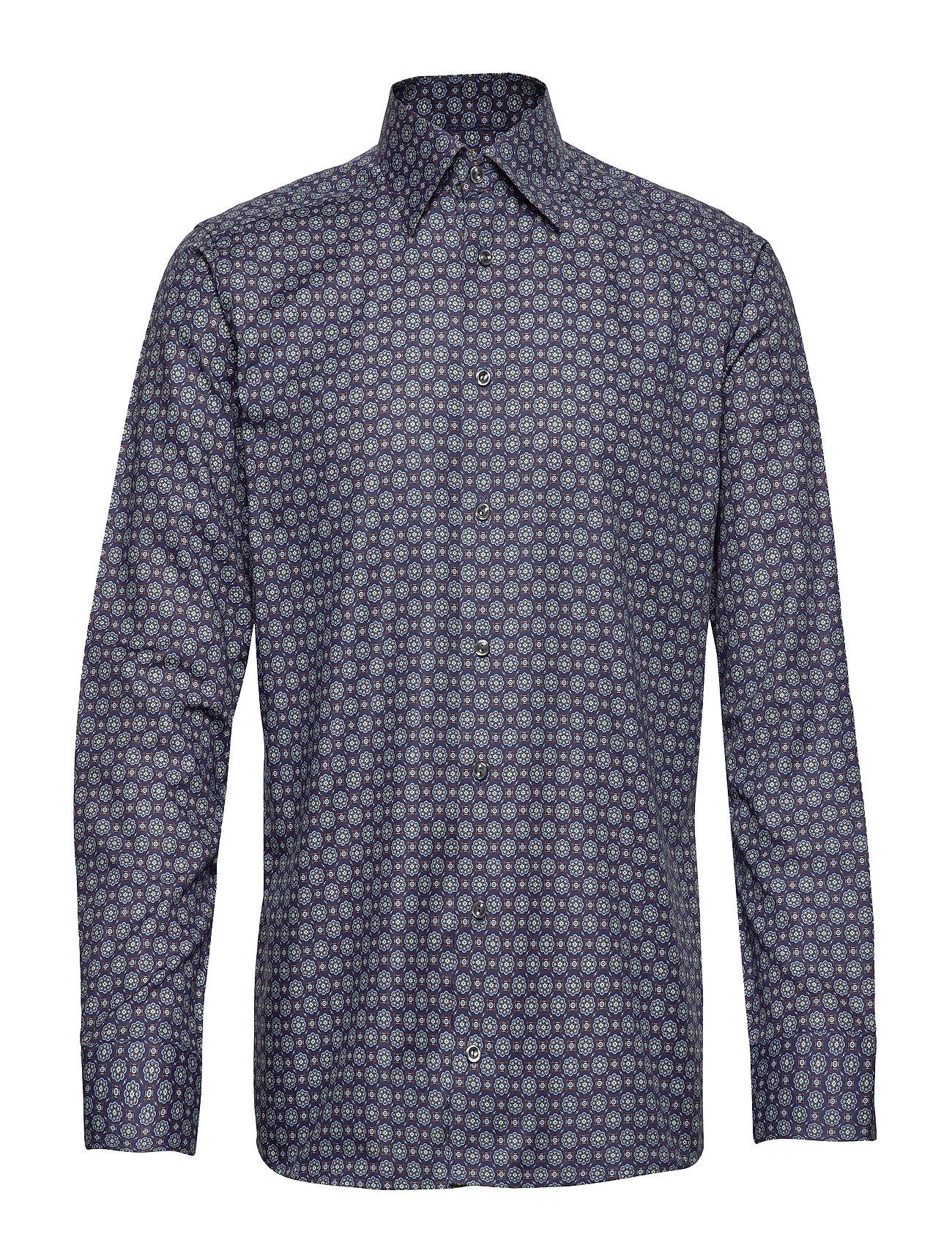 Eton Navy Medallion Print Twill Shirt - BLUE