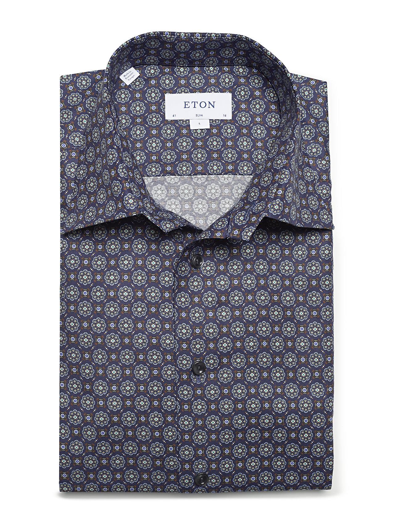 Navy Medallion Print Twill Shirt (Blue) (1019.40 kr) - Eton