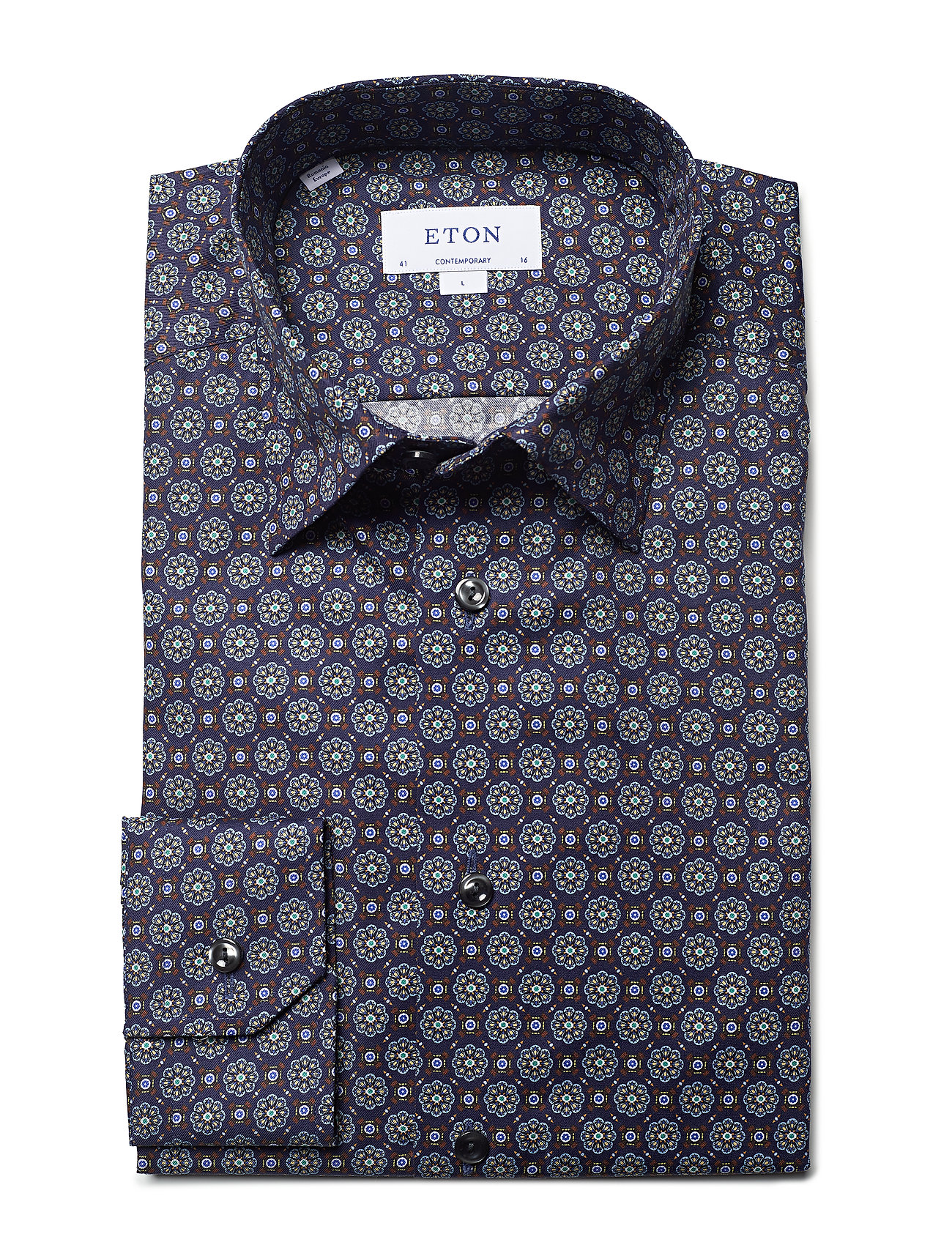 Navy Medallion Print - Contemporary Fit (Blue) (1019.40 kr) - Eton