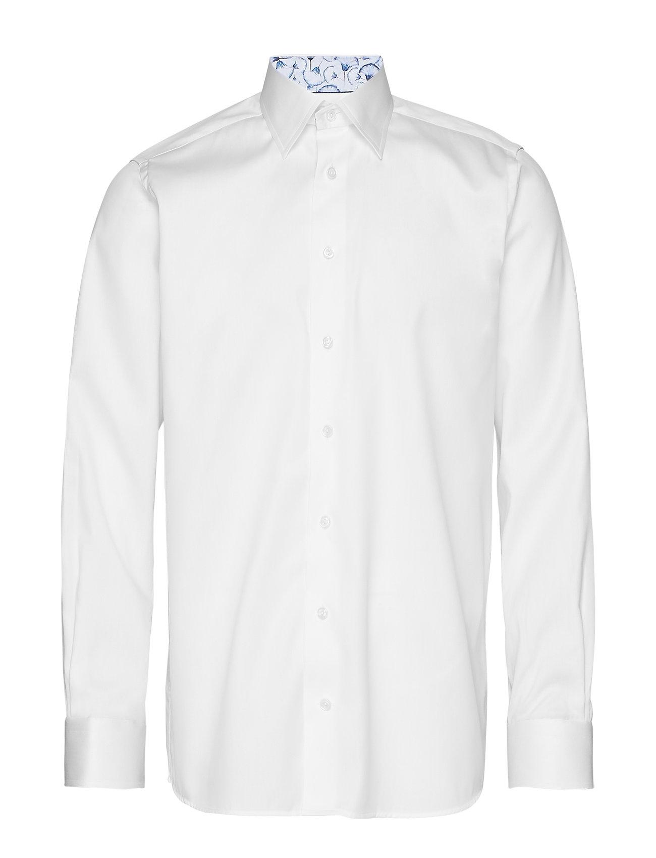 Eton White Twill Shirt – Papyrus Print Details - WHITE