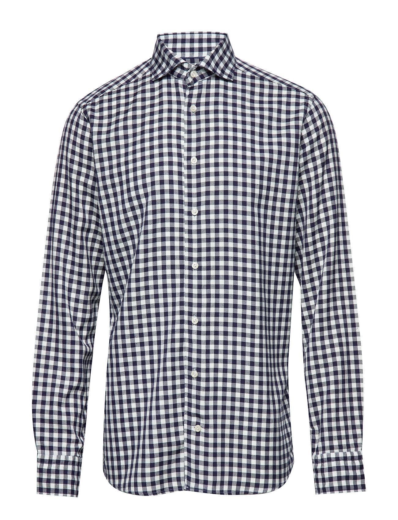 Eton Soft Navy Gingham Checked Cotton-Tencel Shirt - BLUE