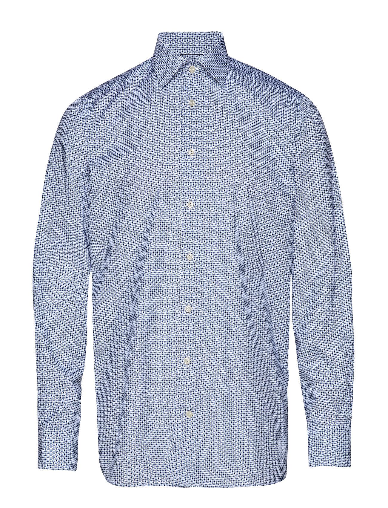 Eton Floral Micro Print Poplin Shirt - BLUE