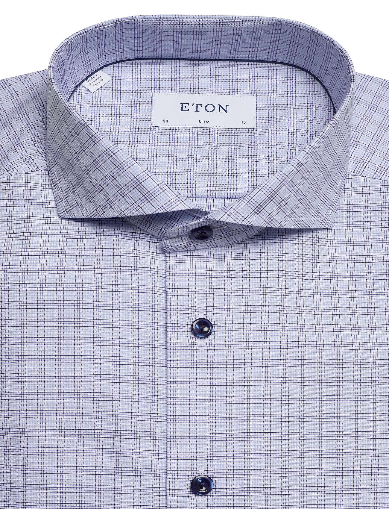 Eton Sky Blue & Navy Checked Twill Shirt - Skjorter BLUE - Menn Klær