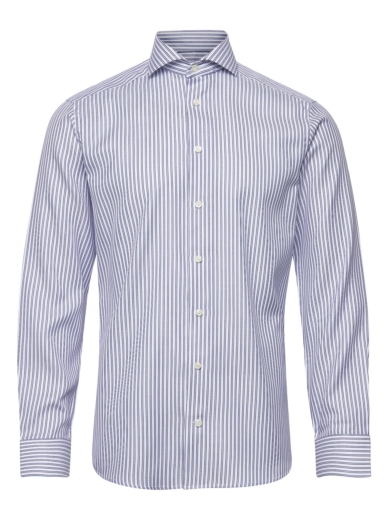 Eton Navy Striped Cotton-Tencel Twill Shirt - BLUE