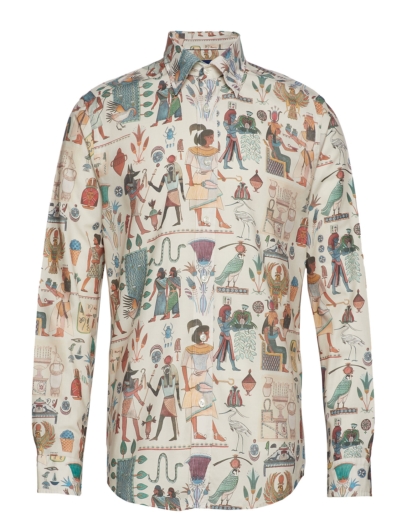 Eton Egyptian Motif Print Twill Shirt - OFFWHITE/BROWN