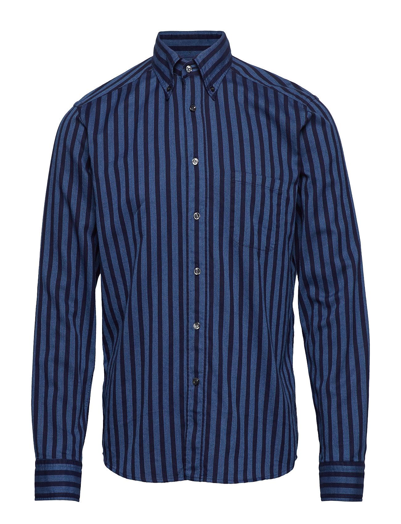 Eton Striped Indigo Flannel Shirt - BLUE
