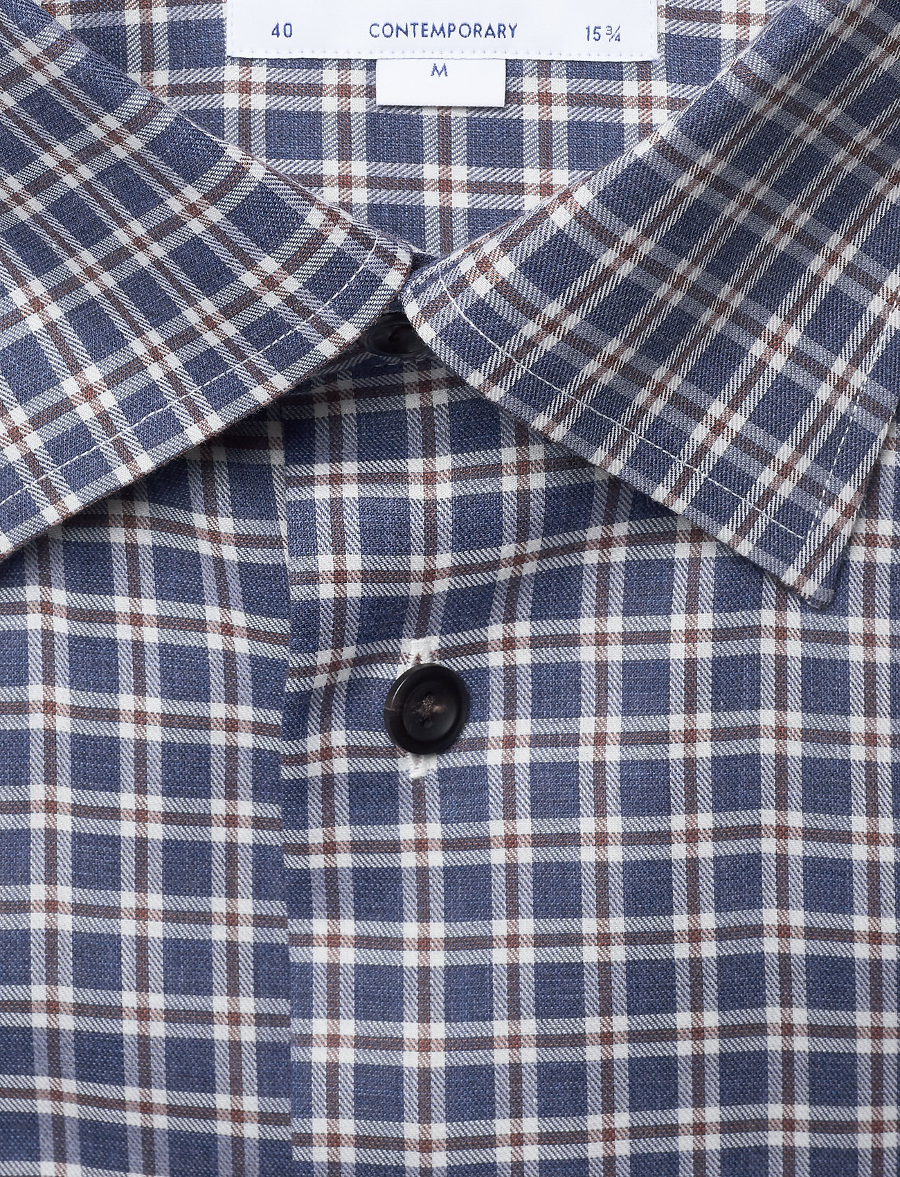 Eton Navy Overcheck Flannel Shirt - Skjorter BLUE - Menn Klær