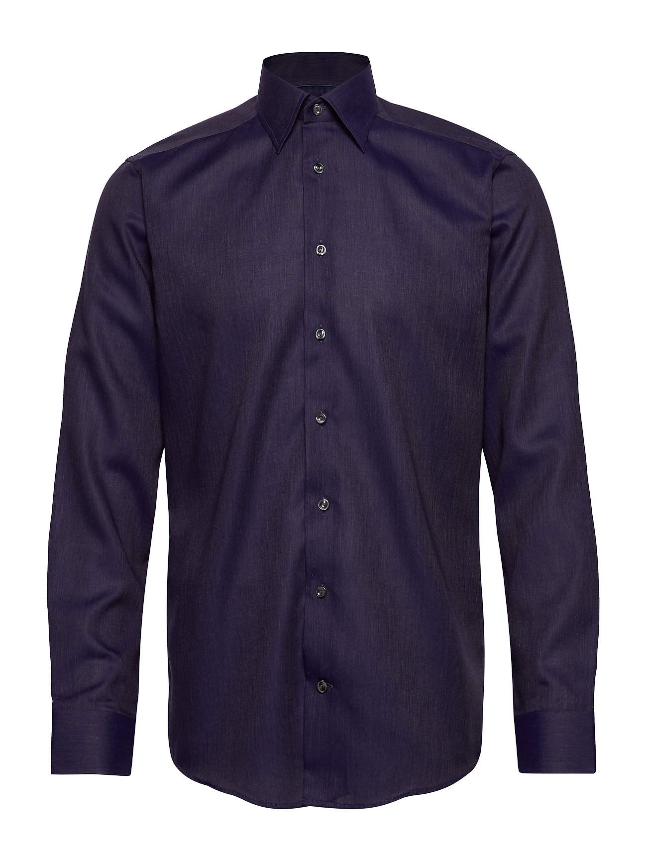 Eton Blue Herringbone Flannel Shirt - BLUE