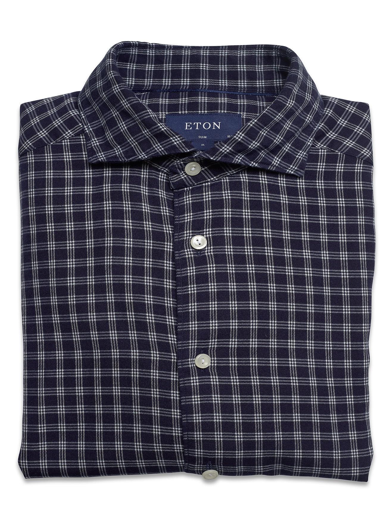 Eton Soft Navy Checked Cotton-Tencel Shirt - Skjorter BLUE - Menn Klær