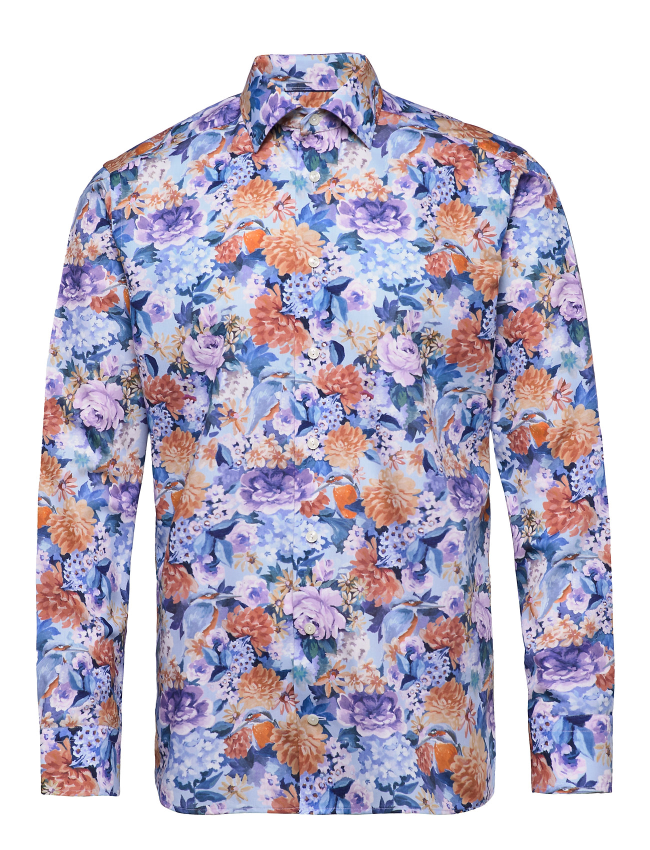 Eton Floral Print Cotton-Tencel Shirt - BLUE