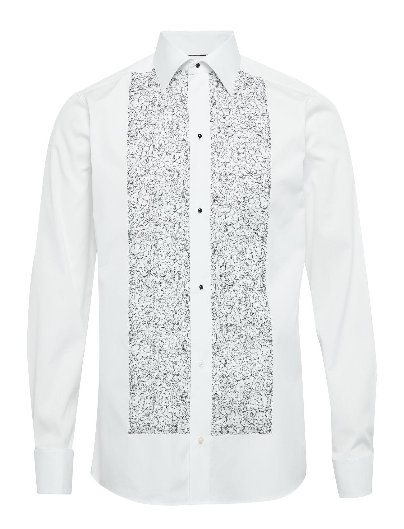 Eton Floral Embroidery Evening Shirt - WHITE