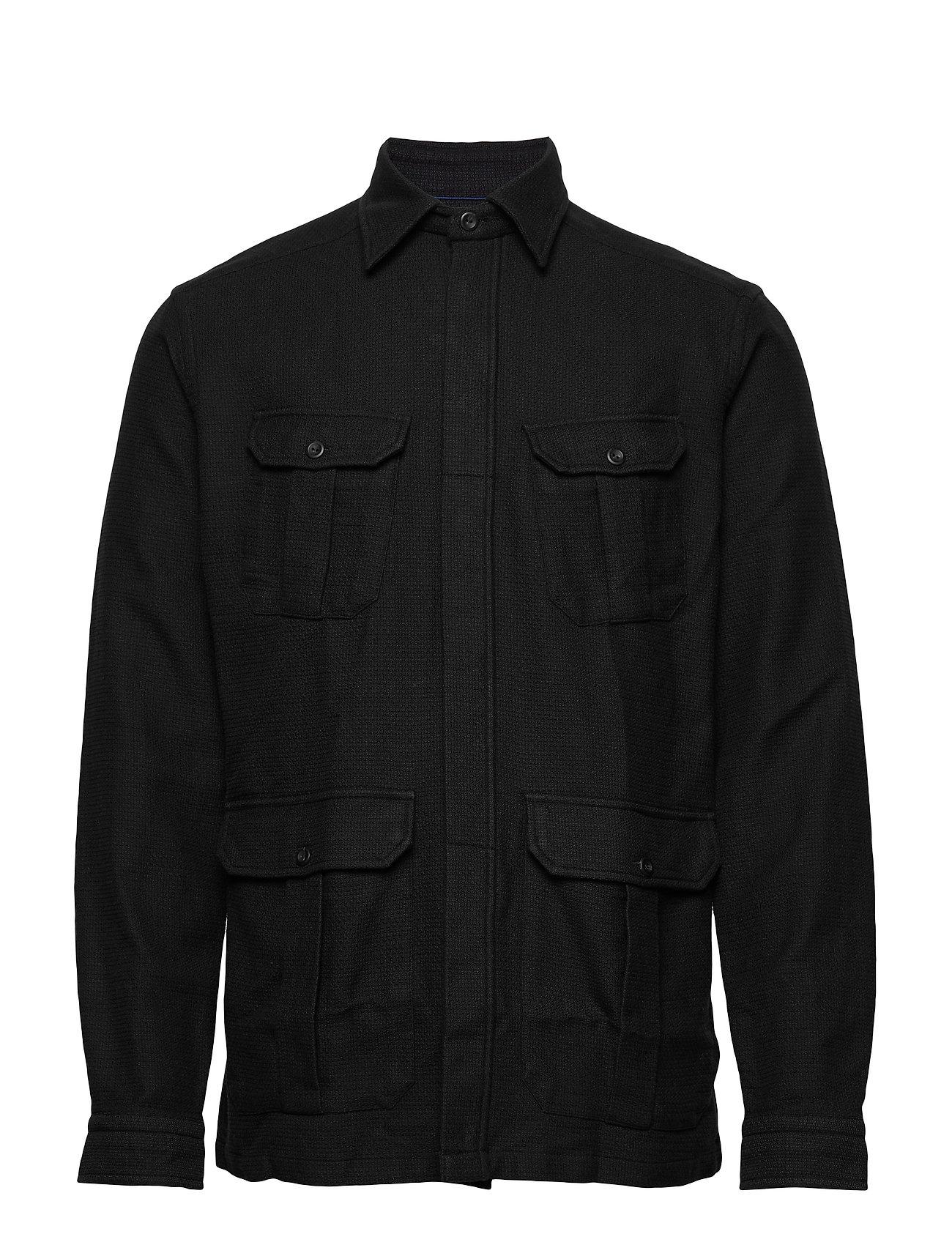 Eton Indigo Luxe Dobby Overshirt - BLACK