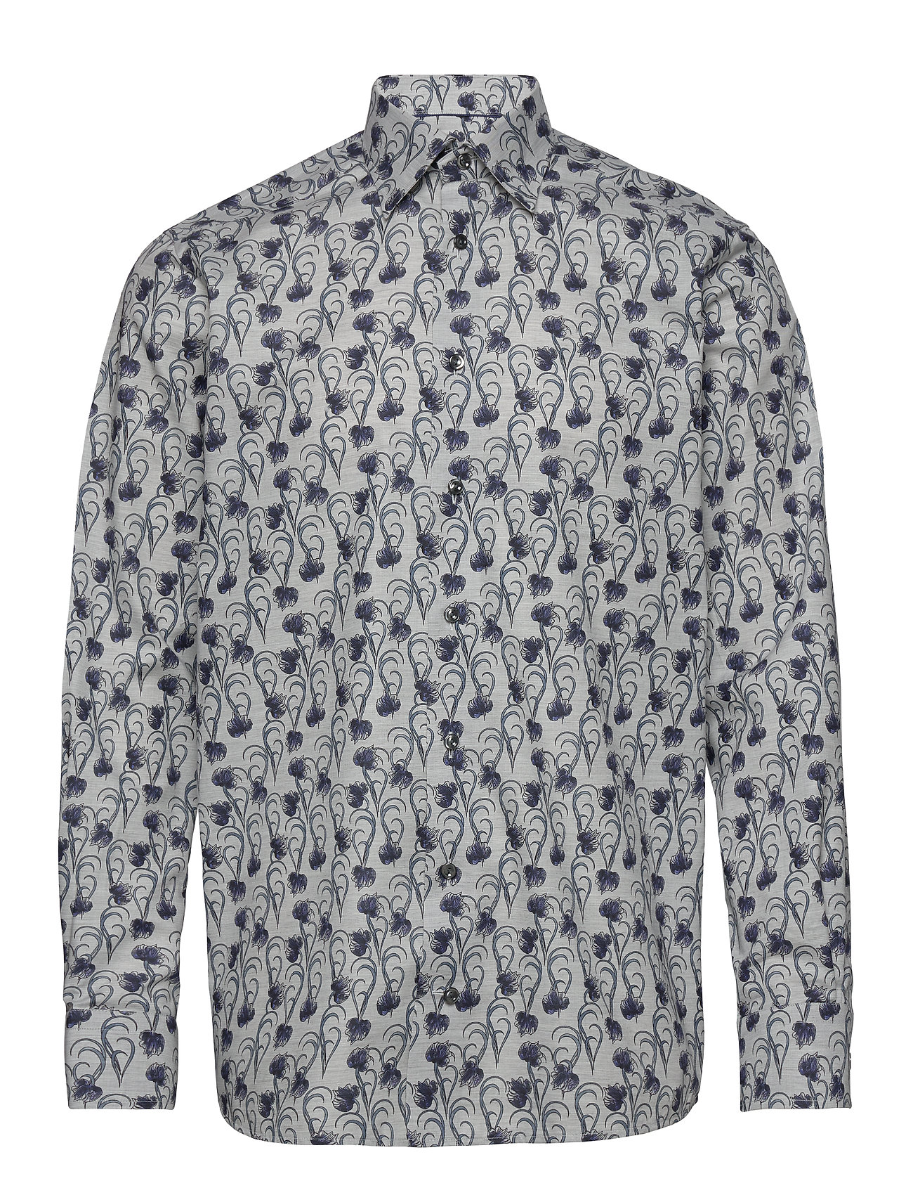 Eton Floral Flannel Shirt - Contemporary fit - GREY