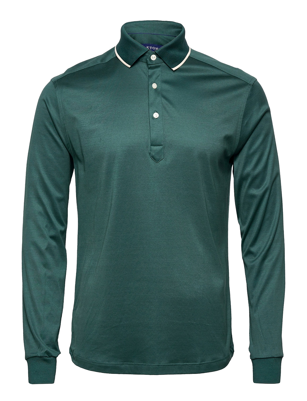 Men'S Shirt: Casual Jersey Polos Long-sleeved Grøn Eton