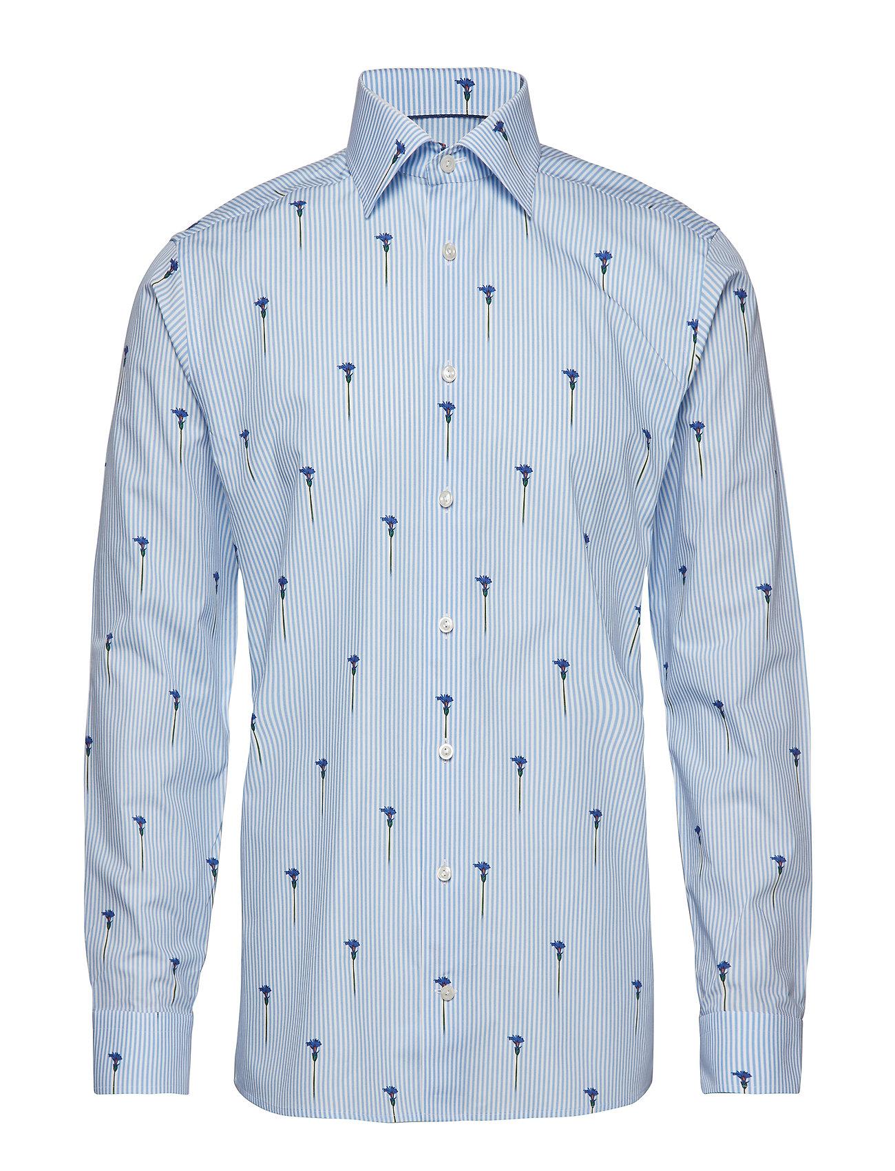 Eton - Striped Flower Print Shirt - business shirts - blue