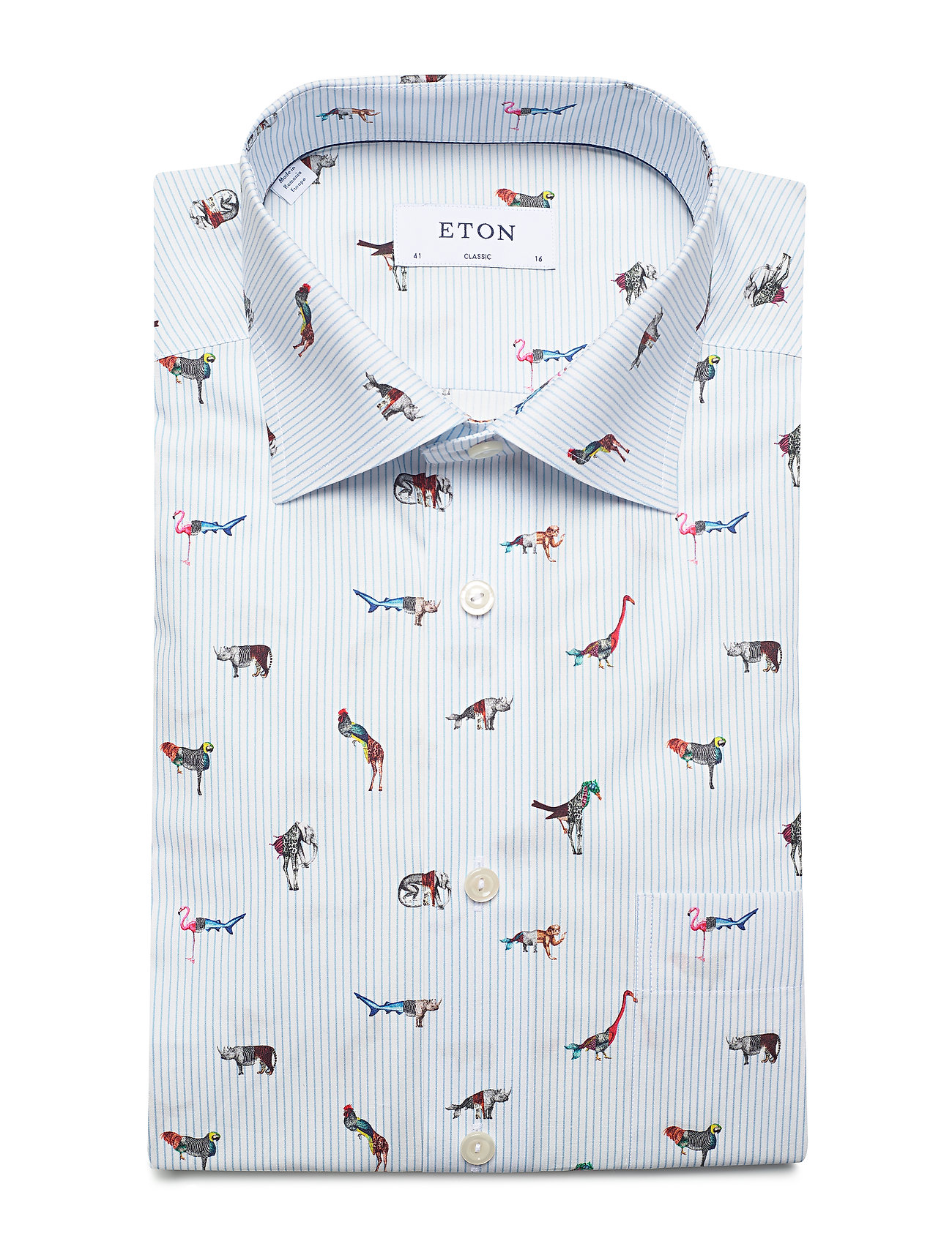 Striped Animal Print Shirt (Blue) (89.50 €) - Eton CXHi6