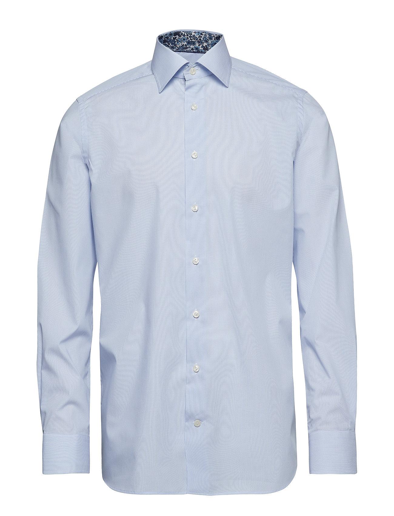 Eton Sky Blue Striped Poplin Shirt - Floral Details