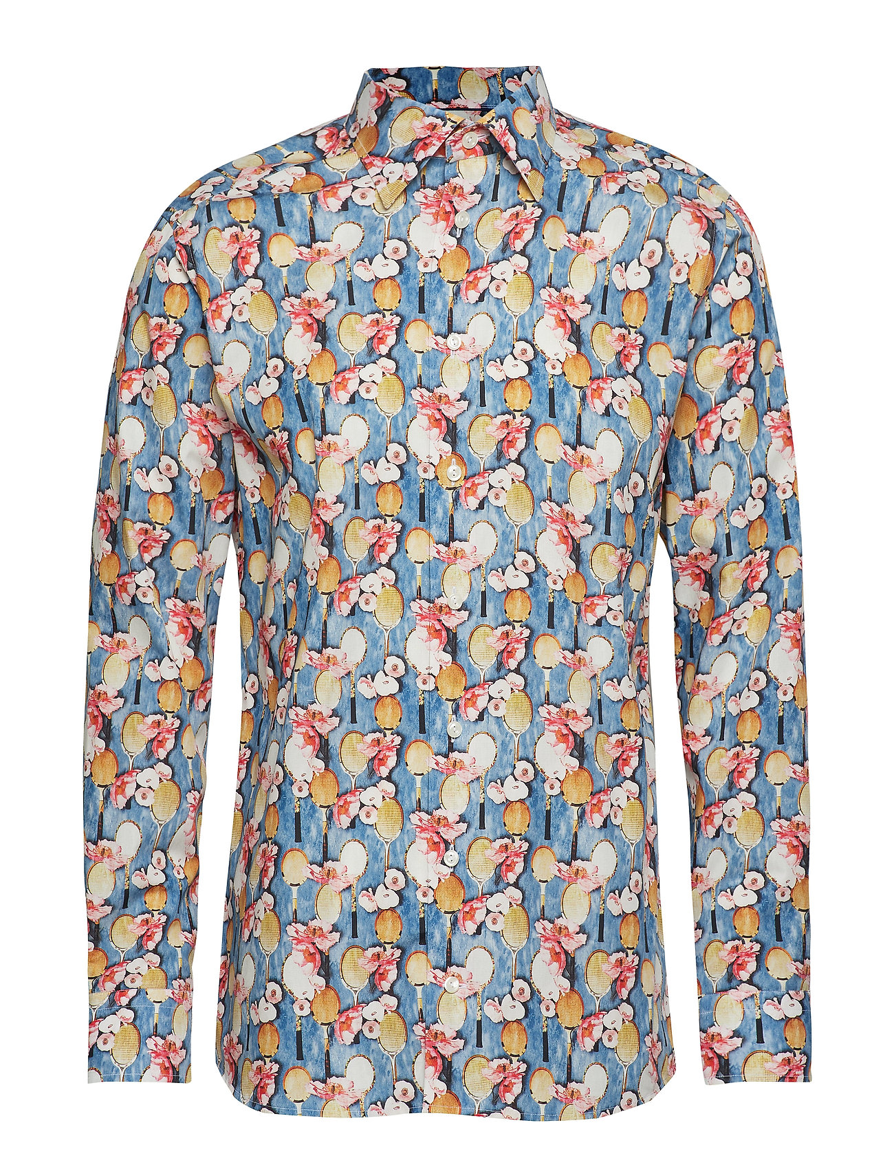 Eton Tennis Racket Flower Print Poplin Shirt - BLUE