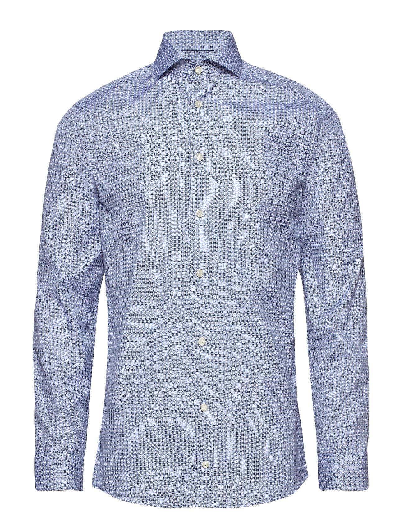 Eton Navy Geometric Print Shirt