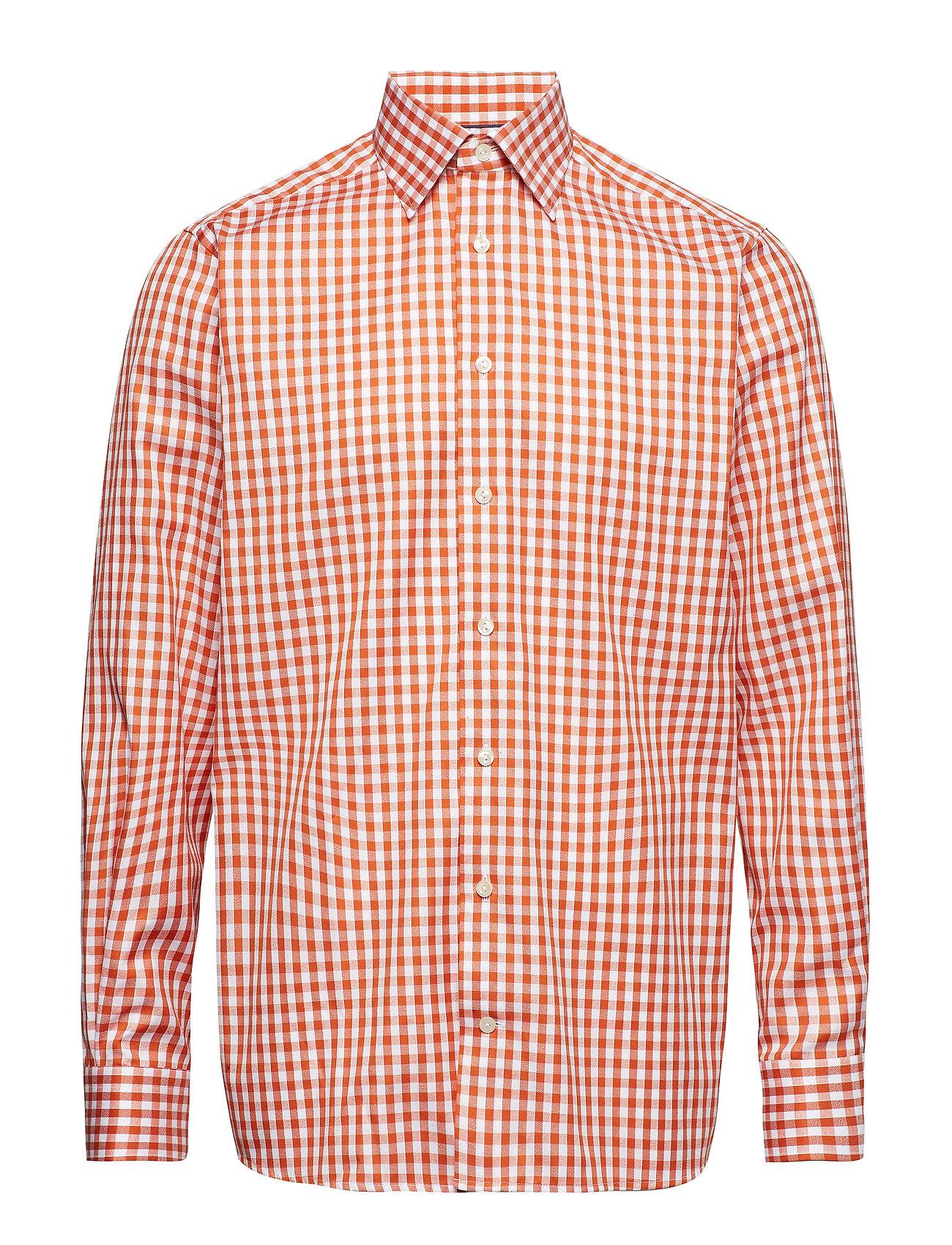 Eton Orange Gingham Check Shirt - YELLOW/ORANGE