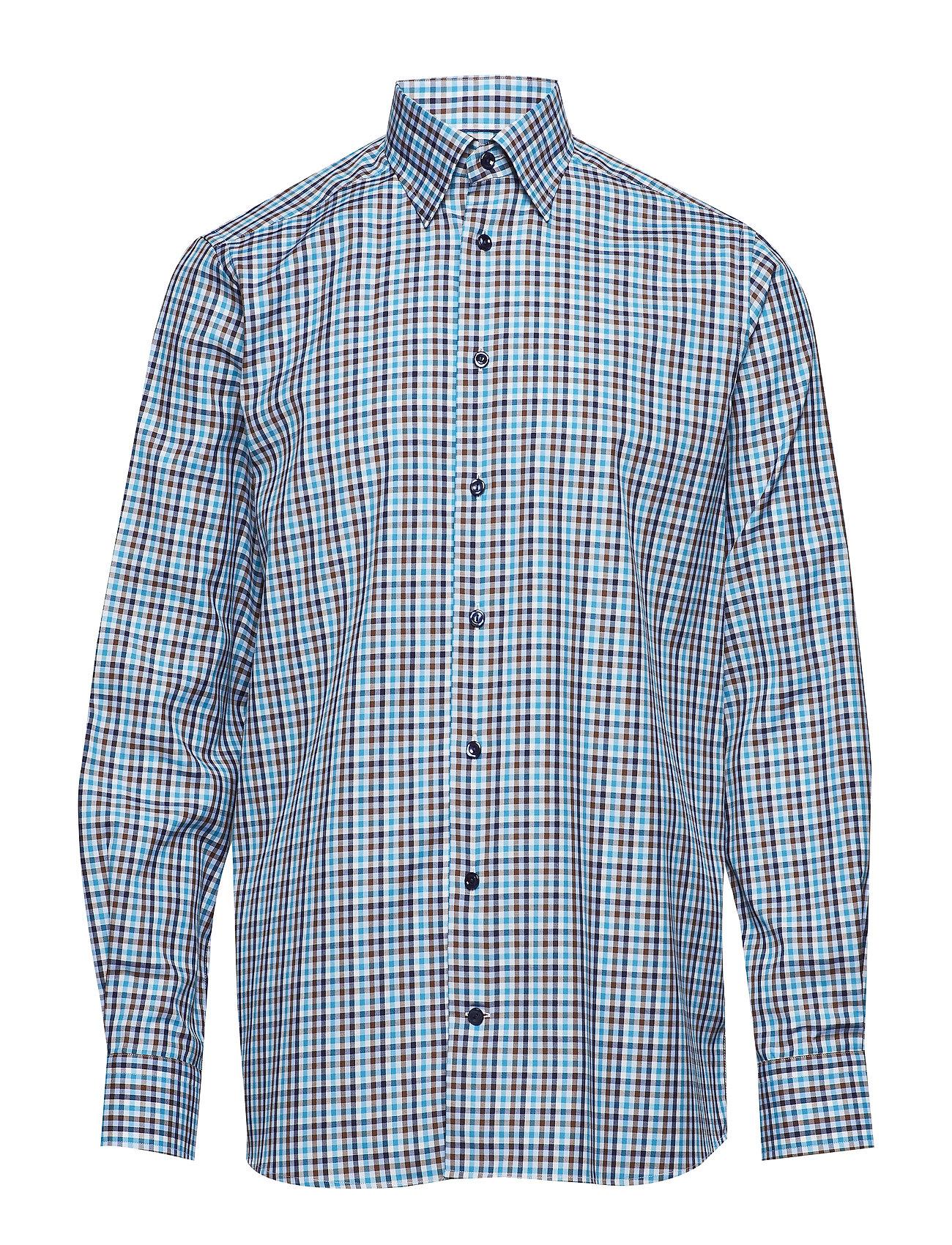 Eton blå & grön Check Twill Shirt Ögrönlar