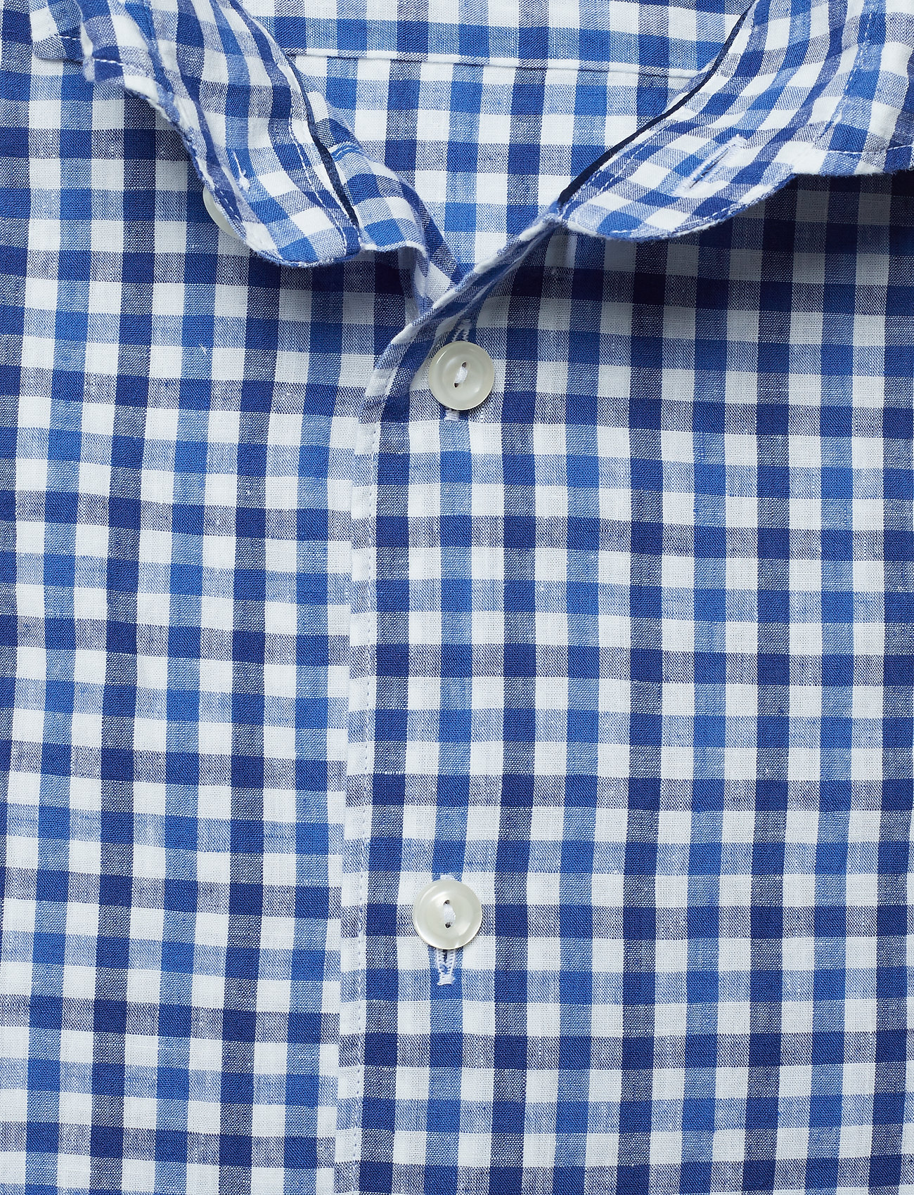 Eton Soft Cotton & Linen Gingham Check Shirt - Skjortor Blue
