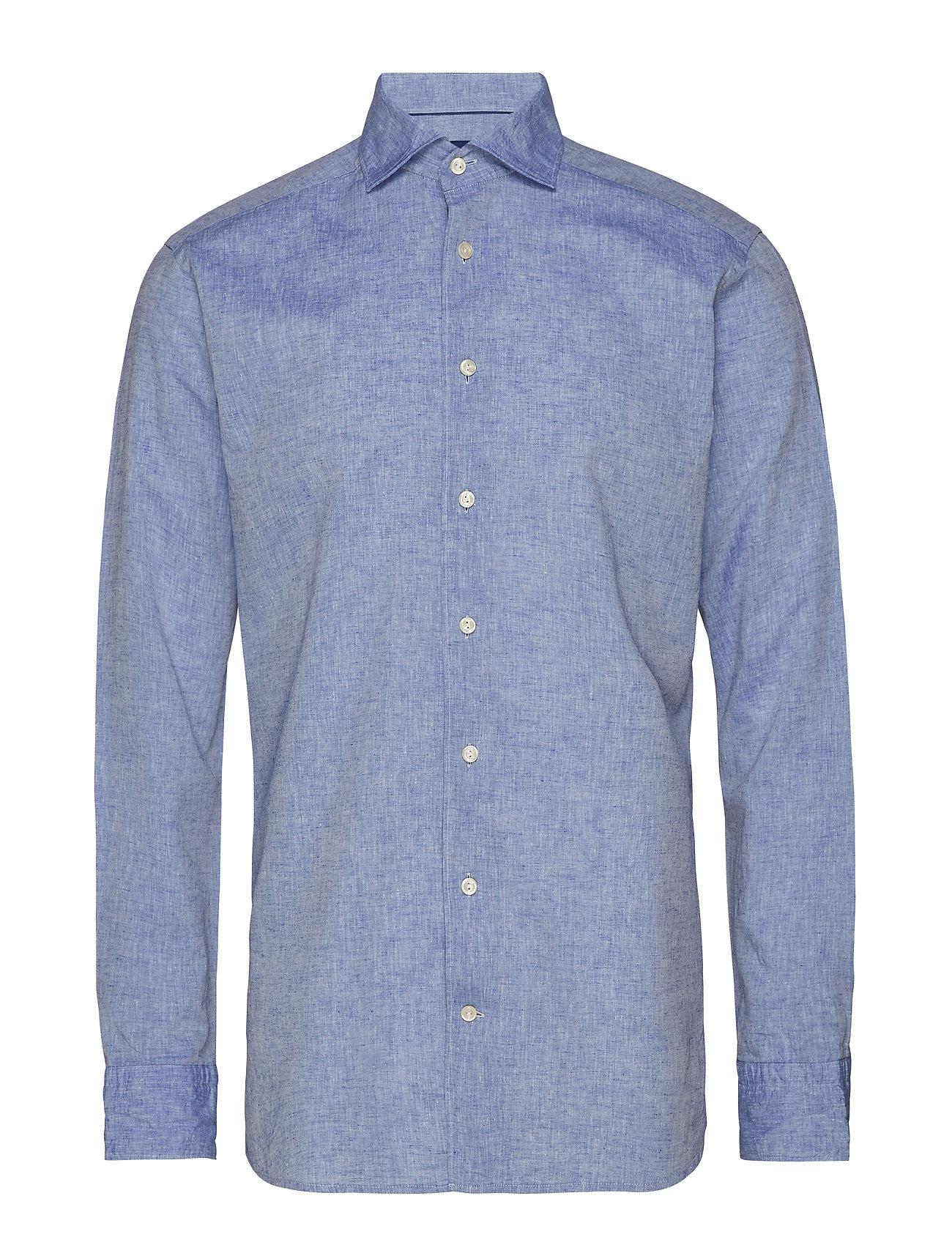 Eton White Cotton & Linen Shirt - BLUE
