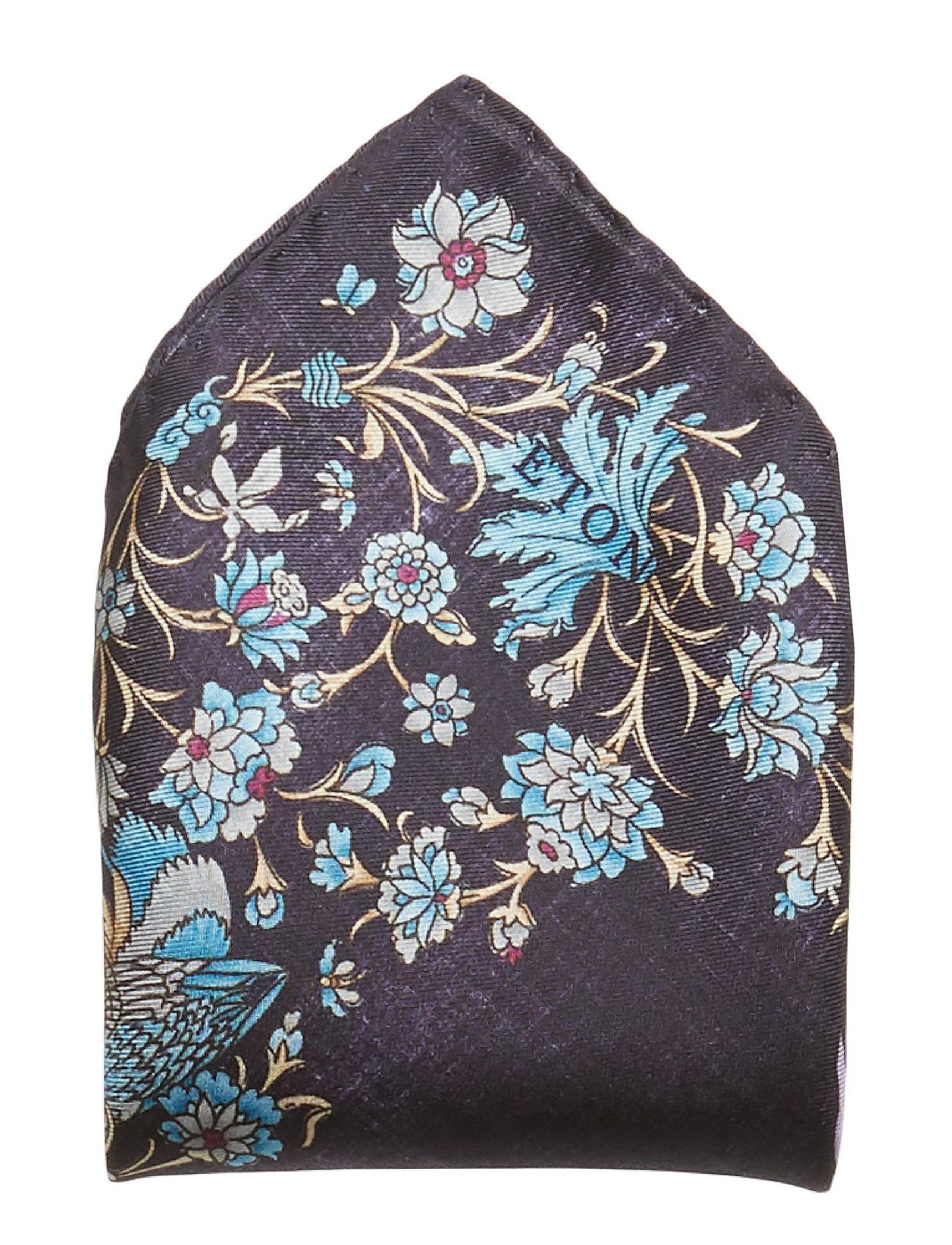 Black Simurgh Bird Print Pocket Square Brystlommetørklæde Sort ETON