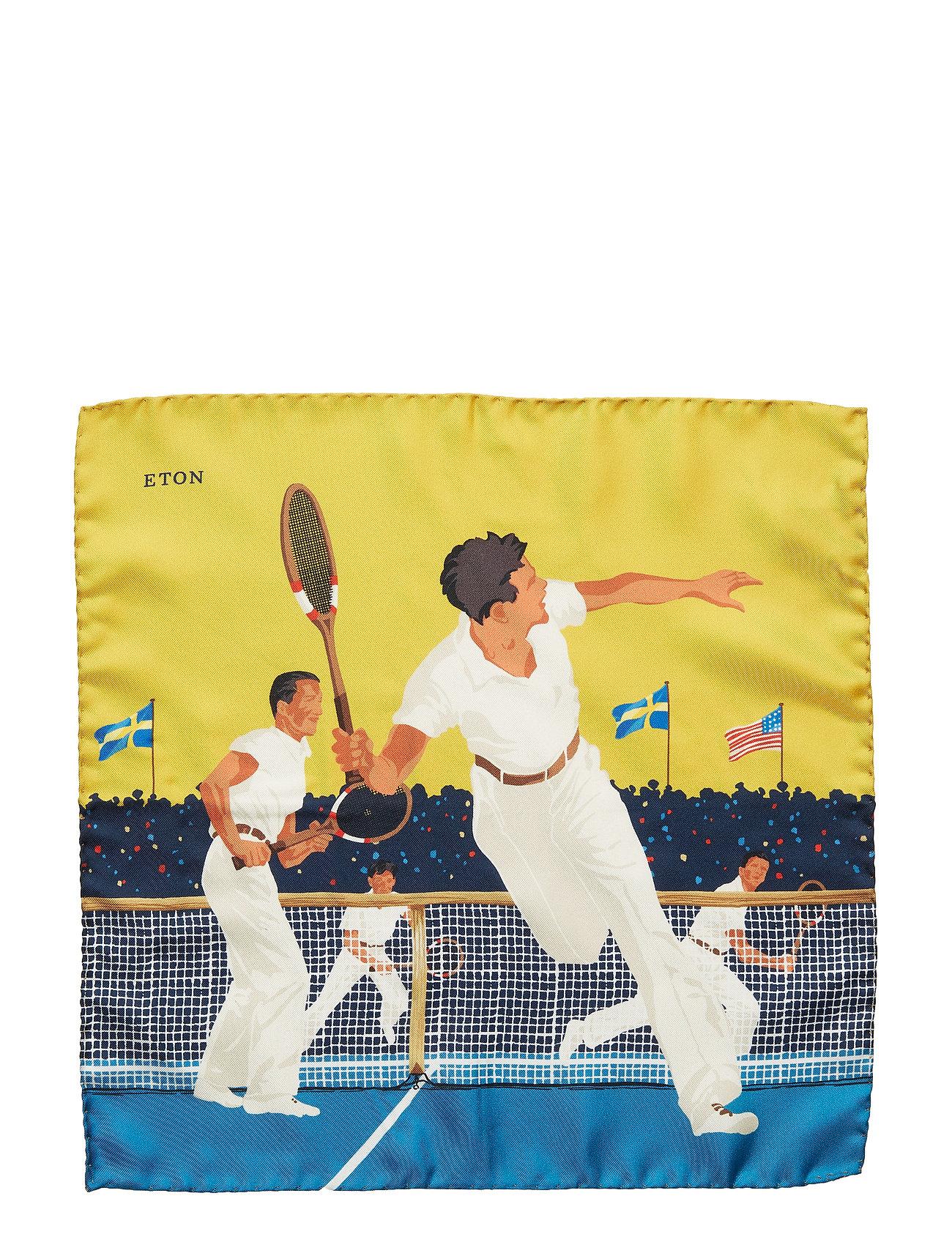 Green Tennis Game Pocket Square Brystlommetørklæde Gul ETON