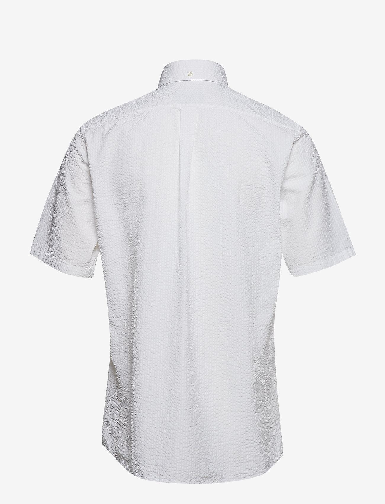 Eton - White Seersucker Short Sleeve Popover Shirt - À manches courtes - white