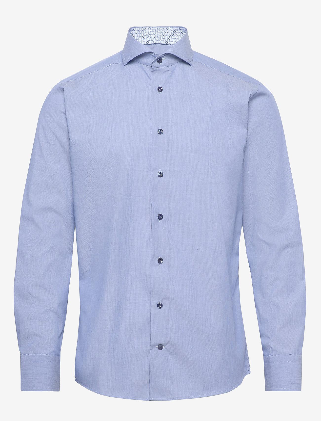Eton - Blue hairline striped shirt – navy details - peruspaitoja - blue