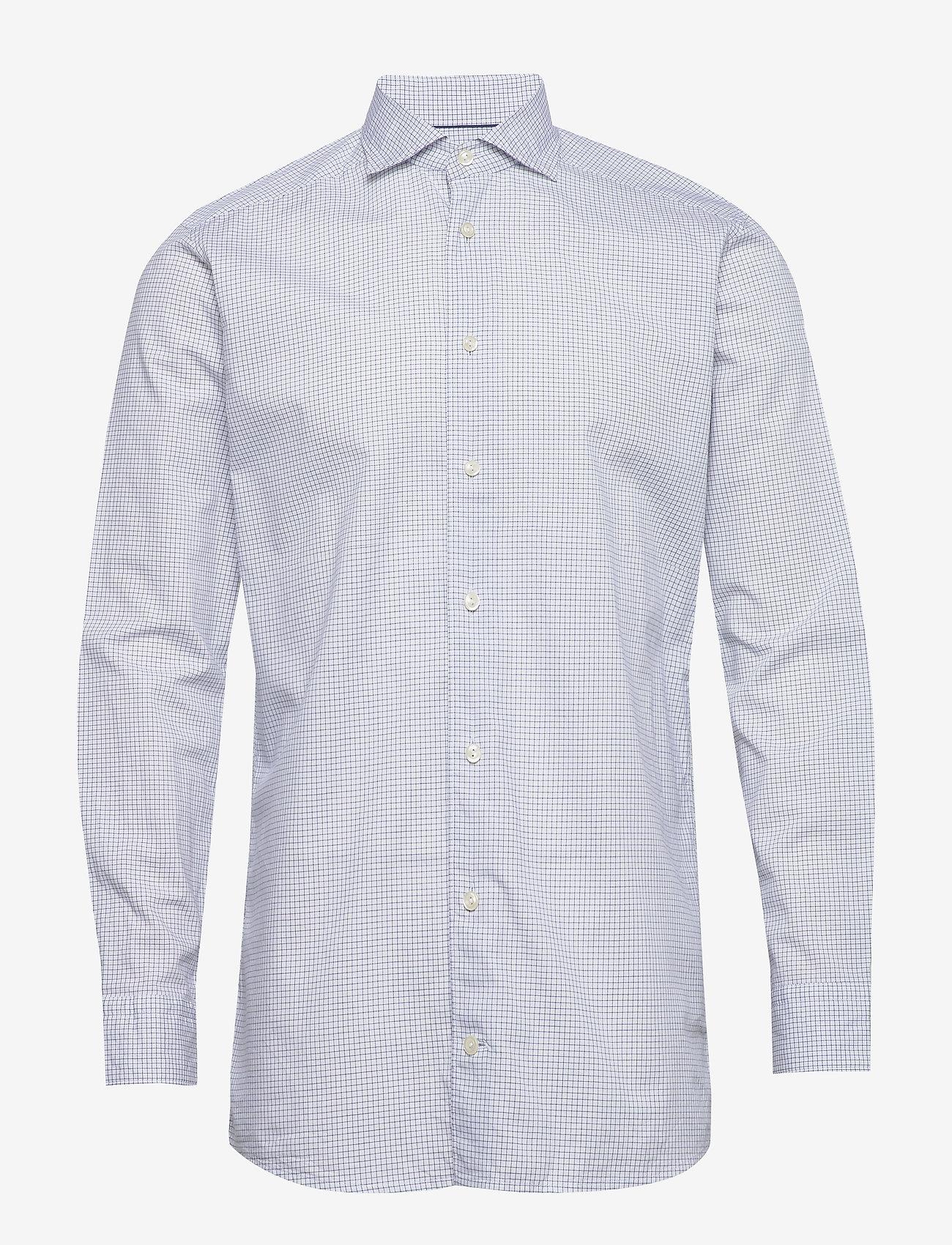 Eton - Navy checked cotton silk shirt – soft - ruutupaidat - navy