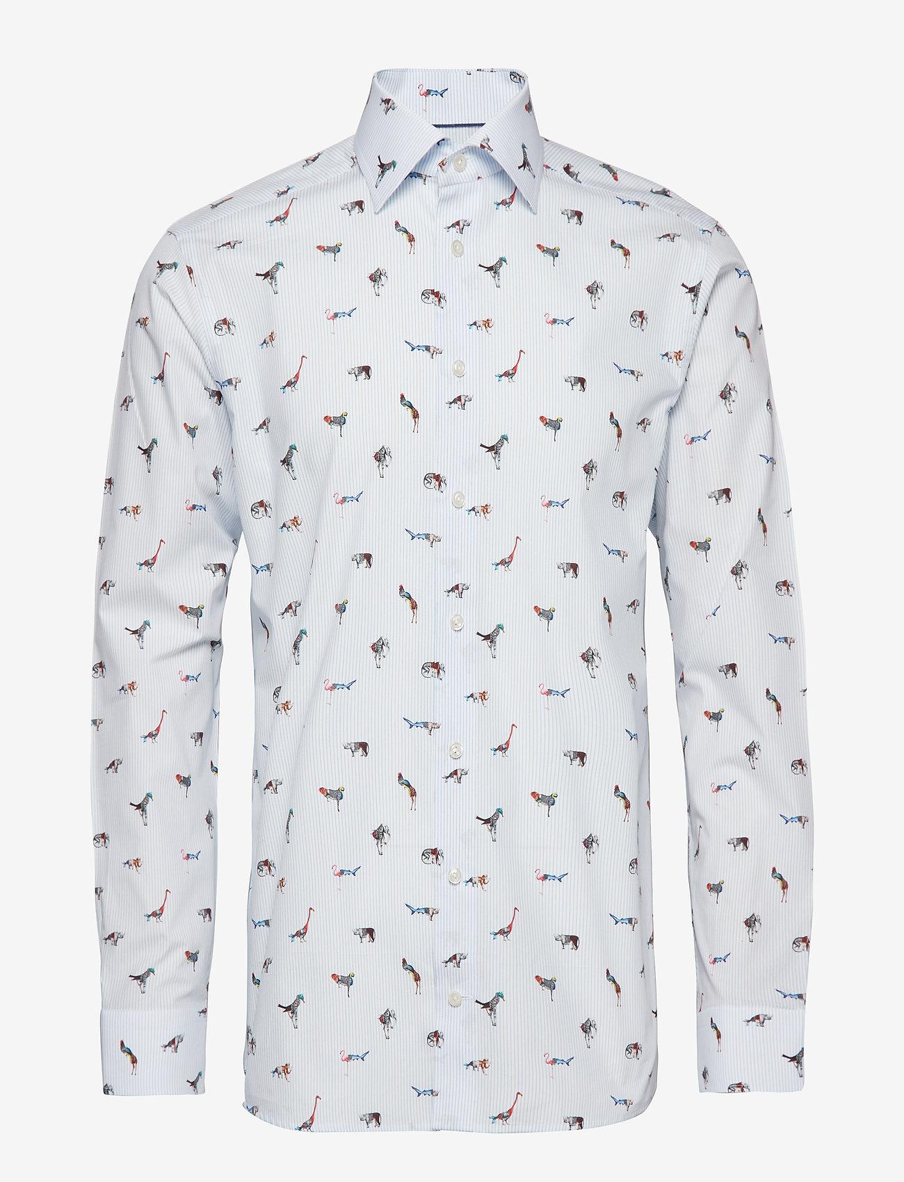 Eton - Striped Animal Print Shirt - business shirts - blue