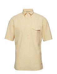 Navy Striped Seersucker Short Sleeve Popover Shirt - YELLOW/ORANGE