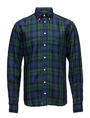 Green & Blue Checked Linen Shirt - GREEN