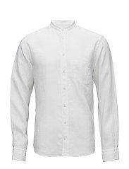White Linen Mao Collar Shirt - WHITE