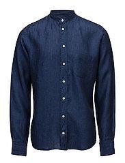 Navy Linen Mao Collar Shirt - BLUE