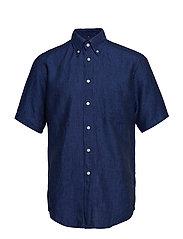 Green Linen Short Sleeve Shirt