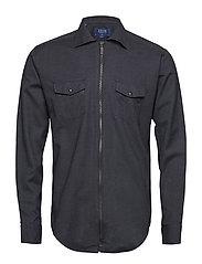 Dark Grey Zipper Shirt - GREY