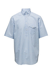 Sky Blue Check Popover Shirt - BLUE