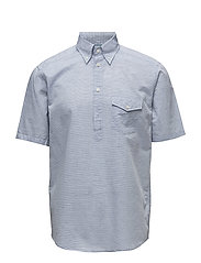 Sky Blue Short Sleeve Popover Shirt - BLUE