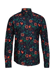 Floral Simurgh Bird Print Shirt - PINK/RED