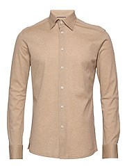 Polo shirt - long sleeved - OFFWHITE/BROWN
