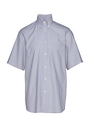 Sky Blue Striped Natural Stretch Oxford Short Sleeve Shirt - BLUE
