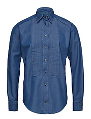 Dark Blue Denim Tuxedo Shirt - BLUE