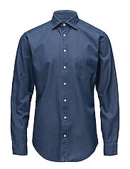 Denim Cut Away Shirt - BLUE