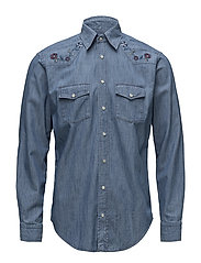 Western Denim Shirt - Embroidery - BLUE