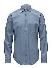 Light Blue Denim Cut Away Shirt - BLUE